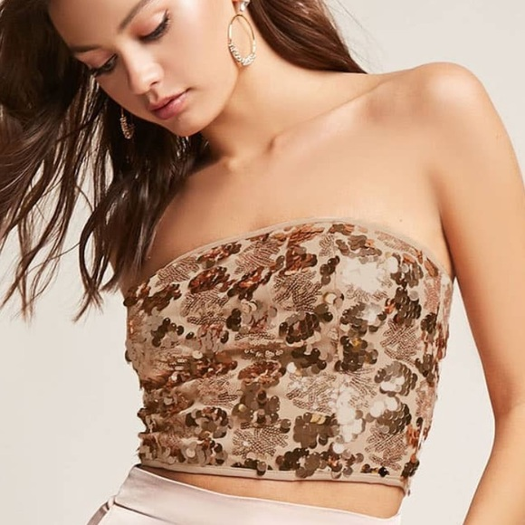 0efb24fbb7 Forever 21 Gold sequin cropped tube top